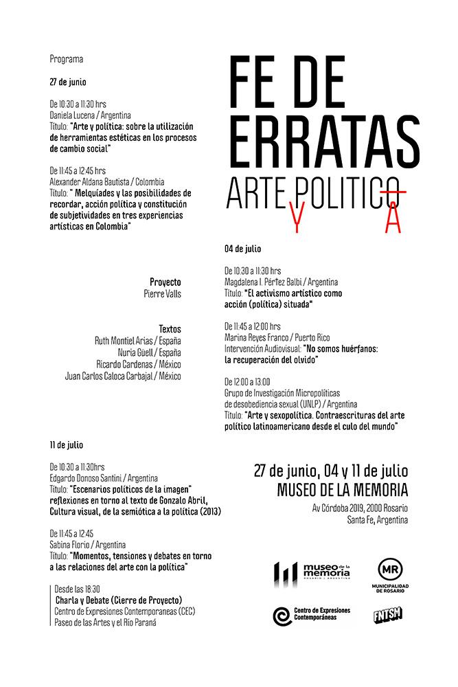 Fe de Erratas Arte y Política Pierre Valls